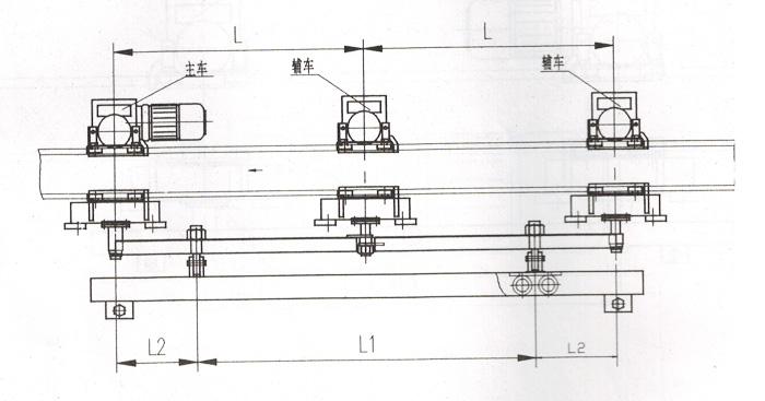 空中自行小车三车组图纸
