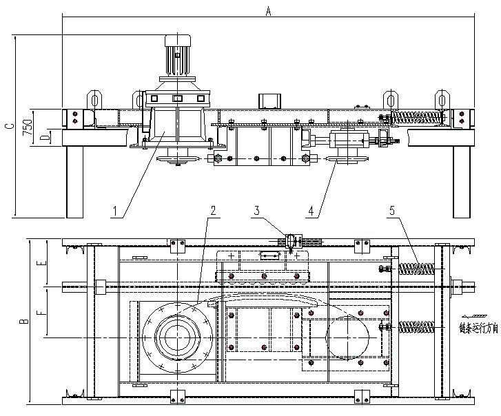 悬挂输送机立式直线驱动装置
