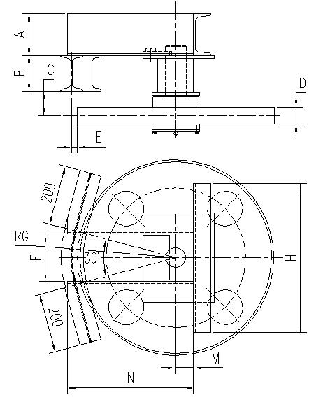 悬挂输送机30°光轮水平弯轨设计图