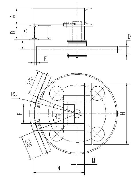 悬挂输送机45°光轮水平弯轨设计图