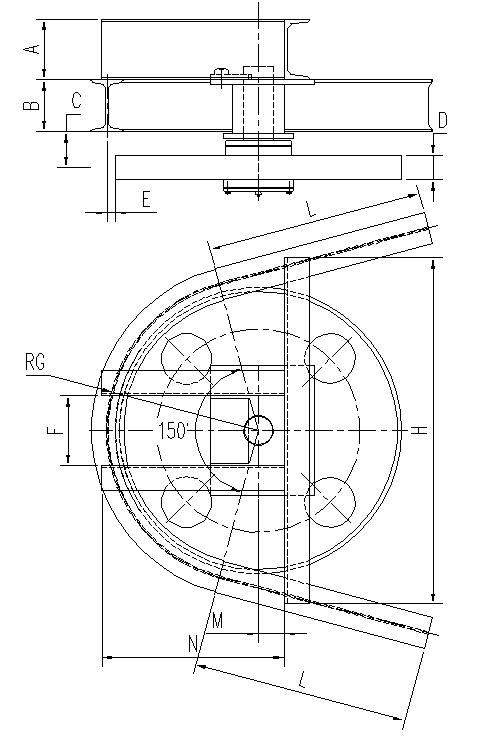悬挂输送机150°光轮水平弯轨设计图