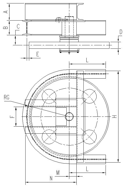 悬挂输送机180°光轮水平弯轨设计图