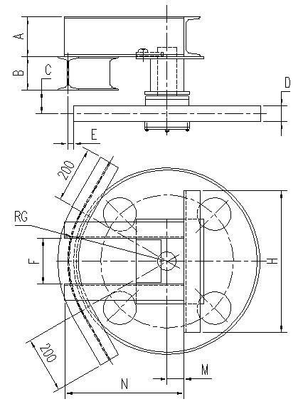 悬挂输送机60°光轮水平弯轨设计图