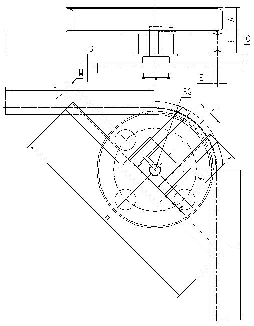 悬挂输送机90°光轮水平弯轨设计图