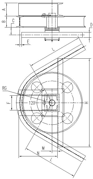 悬挂输送机120°光轮水平弯轨设计图