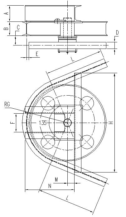 悬挂输送机135°光轮水平弯轨设计图