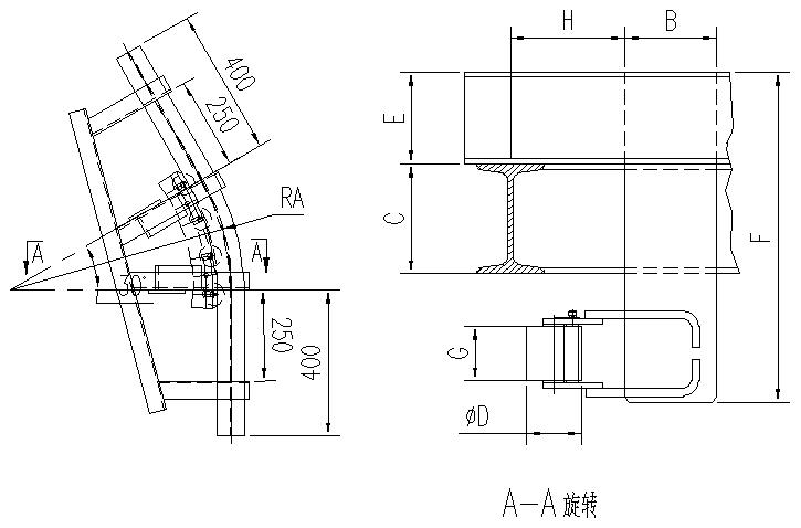 悬挂输送机30°滚子水平弯轨设计图
