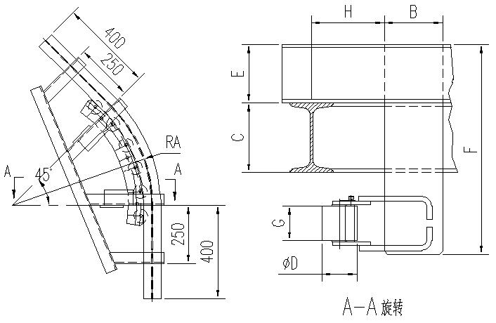 悬挂输送机45°滚子水平弯轨设计图