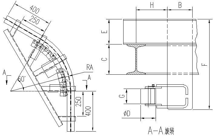 悬挂输送机60°滚子水平弯轨设计图