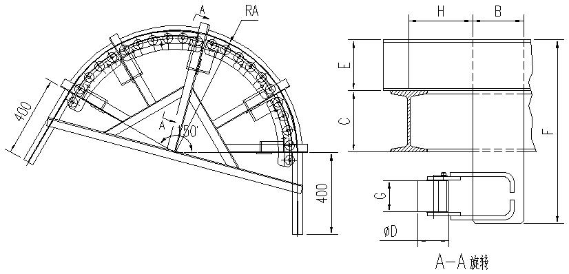 悬挂输送机150°滚子水平弯轨设计图