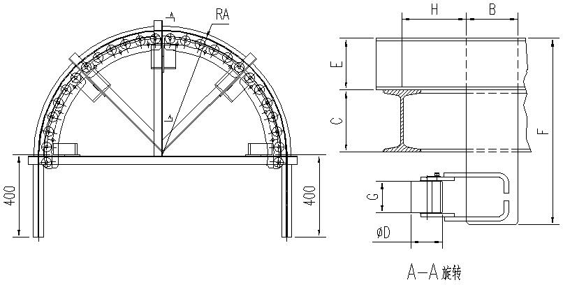 悬挂输送机180°滚子水平弯轨设计图
